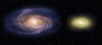 """Diese Illustration zeigt einen Vergleich der """"toten"""" Galaxie MACS2129-1 (rechts) mit der Milchstraßen-Galaxie (links). (Credits: NASA, ESA, and Z. Levy (STScI))"""