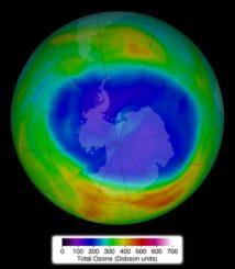 Das Ozonloch über der Antarktis am 11. September 2014. (Credit: NASA)
