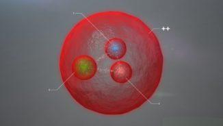 Diese Grafik zeigt den schematischen Aufbau des neu identifizierten Teilchens, das aus zwei Charm-Quarks und einem Up-Quark besteht. (Credit: Image: Daniel Dominguez / CERN)