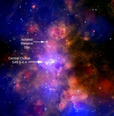 Kompositbild der Riesenmolekülwolke W51, basierend auf Daten der Weltraumteleskope Chandra und Spitzer. (Credits: X-ray: NASA / CXC / PSU / L.Townsley et al; Infrared: NASA / JPL-Caltech)