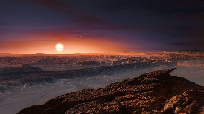 Künstlerische Darstellung der Oberfläche des Planeten Proxima b, der den roten Zwergstern Proxima Centauri umkreist. (Credit: ESO / M. Kornmesser)