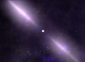Künstlerische Darstellung eines Pulsars mit seinen charakteristischen Strahlen. (Credits: NASA's Goddard Space Flight Center)