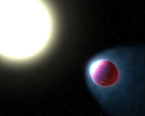 Illustration des Exoplaneten WASP-121b, dessen obere Atmosphärenschicht auf 2.500 Grad Celsius aufgeheizt wird. (Credits: NASA, ESA, and G. Bacon (STSci))