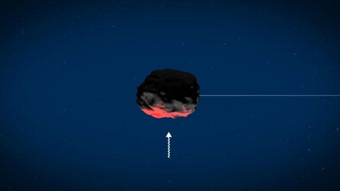 Sonnenbedingtes Erwärmen der Oberfläche von Asteroiden kann ein Wegdriften des Objekts verursachen. (Credits: Image Courtesy of NASA / GSFC)
