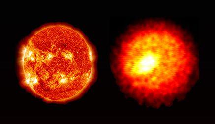 Die Sonne (links) ist etwa 10^38 Mal massereicher und circa 10^13 Mal größer, aber die Implosionen an der National Ignition Facility (rechts) werden genutzt, um die Bedingungen tief im Innern von Sternen nachzubilden. (Credit: Lawrence Livermore National Laboratory)