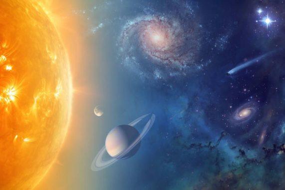 Künstlerische Darstellung der potenziellen Beobachtungsziele der vorgeschlagenen Missionen im Rahmen des Astrophysics Explorers Program. (Credit: NASA)