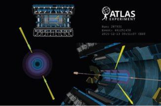 Schematische Darstellung einer Licht-an-Licht-Streuung im Detektor des ATLAS-Experiments. (Credits: ATLAS / CERN)