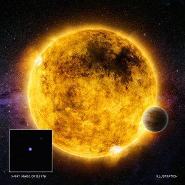 Künstlerische Darstellung des mehr als eine Milliarde alten, sonnenähnlichen Sterns GJ 176. (Credits: X-ray: NASA / CXC / Queens Univ. of Belfast / R. Booth, et al.; Illustration: NASA / CXC / M. Weiss)