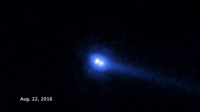 Der Doppelasteroid 300163 (2006 VW139) am 22. August 2016, aufgenommen vom Weltraumteleskop Hubble. (Credits: NASA, ESA, and J. DePasquale and Z. Levay (STScI))