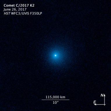 Hubble-Aufnahme des Kometen C/2017 K2 (PANSTARRS) mit seiner Staubkoma. (Credit: NASA, ESA, and D. Jewitt (UCLA))