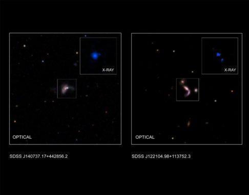 Diese Grafik zeigt zwei der fünf neuen Paare aus supermassiven Schwarzen Löchern, die kürzlich von Astronomen identifiziert wurden. (Credits: X-ray (J122104): NASA / CXC / George Mason Univ. / S.Satyapal et al.; X-ray (J140737): NASA / CXC / Univ. of Victoria / S.Ellison et al.; Optical: SDSS; Illustration: NASA / CXC / A.Hobart)