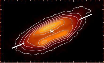 Dieses Bild zeigt die protoplanetare Scheibe um den jungen Stern HH-212 in Submillimeter-Wellenlängen. (Credits: Lee et al., 2017)