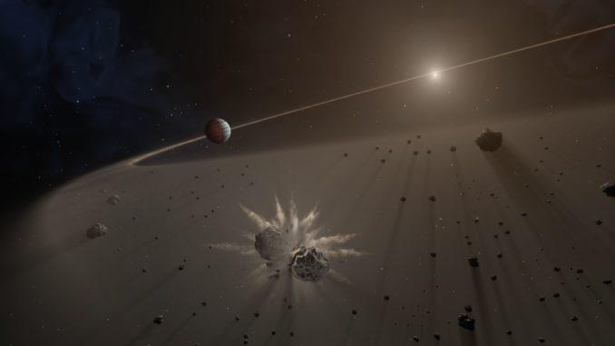 Künstlerische Darstellung eines Riesenplaneten, dessen Gravitationskräfte kleinere Himmelskörper in einer Staub- und Trümmerscheibe zur Kollision bringen. (Credits: NASA / JPL-Caltech)