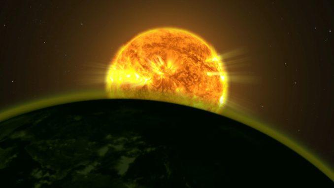 Diese Illustration zeigt, wie das Licht eines Sterns die Atmosphäre eines Planeten anstrahlt. (Credits: NASA Goddard Space Flight Center)