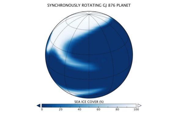 Diese Grafik zeigt die mögliche Eisverteilung auf einer Wasserwelt mit gebundener Rotation. Der Stern liegt rechts. Blau deutet offenes Meer an, während Weiß die Präsenz von Meereis kennzeichnet. (Credits: Anthony Del Genio / GISS / NASA)