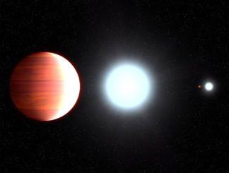 Diese Illustration zeigt den sehr heißen Planeten Kepler-13Ab nahe an seinem Zentralstern Kepler-13A. Rechts im Hintergrund sind die anderen Sterne des Systems dargestellt, Kepler-13B und der orangefarbene Zwergstern Kepler-13C. (Credits: NASA, ESA, and G. Bacon (STScI))