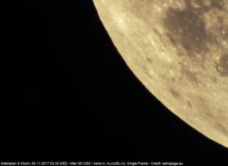 Der Stern Aldebaran (links) kurz vor der Bedeckung durch den Mond. (Credit: astropage.eu)