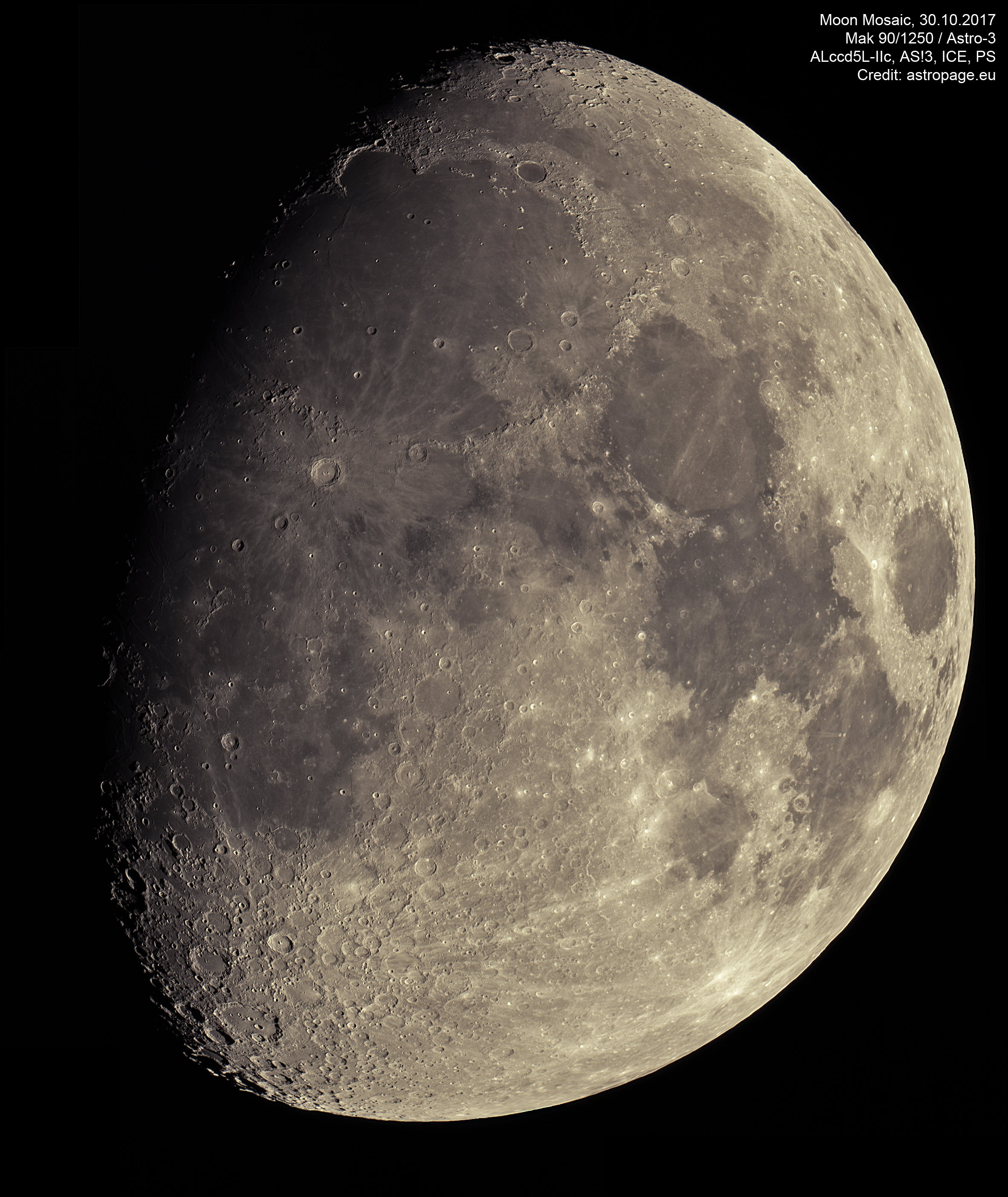 Mond-Mosaik vom 30. Oktober 2017. (Credit: astropage.eu)
