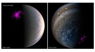 Röntgenauroras an Jupiters Nord- und Südpol. (Credits: X-ray: NASA / CXC / UCL / W.Dunn et al.; Optical: South Pole: Credits: NASA / JPL-Caltech / SwRI / MSSS / Gerald Eichstädt / Seán Doran; North Pole Credit: NASA / JPL-Caltech / SwRI / MSSS)