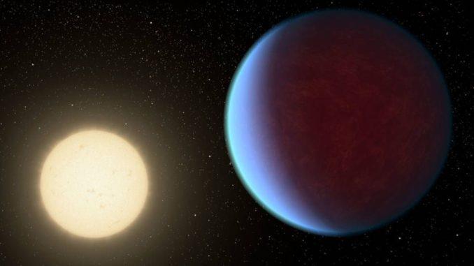 Künstlerische Darstellung des Exoplaneten 55 Cancri e (rechts) mit seinem Zentralstern. (Credits: NASA / JPL-Caltech)