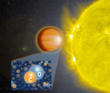 Künstlerische Darstellung des Planeten WASP-18b in der Nähe seines Zentralsterns. Die Atmosphäre des Planeten enthält große Mengen Kohlenstoffmonoxid (CO) aber kein Wasser. (Credit: NASA's Goddard Space Flight Center)