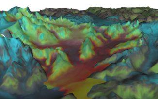 Eine VESL-Simulation Columbia-Gletschers in Alaska. (Credits: NASA / JPL-Caltech)