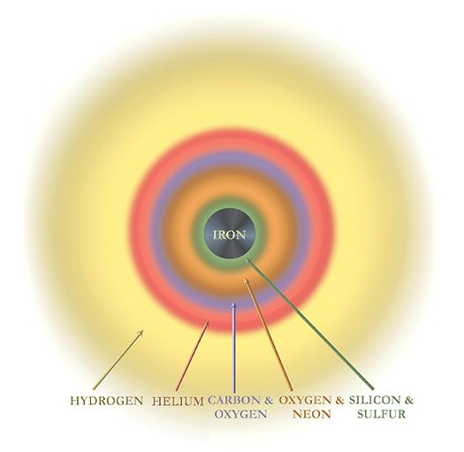 Diese schematische Darstellung zeigt den Aufbau eines massereichen Sterns vor einer Supernova-Explosion. (Credits: NASA / CXC / S. Lee)