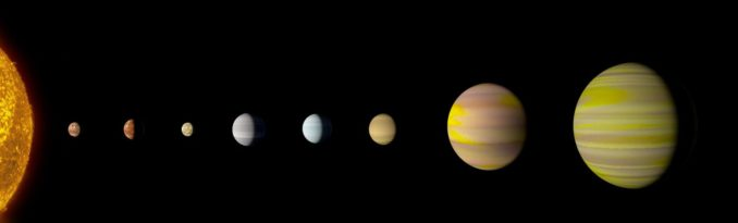 Künstlerische Darstellung der Planeten im System Kepler-90 (Abstände nicht maßstabsgetreu). (Credits: NASA / Wendy Stenzel)
