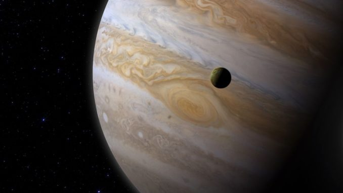 Illustration von Jupiter und seinem Mond Io. (Credit: NASA's Goddard Space Flight Center / CI Lab)