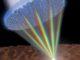 Illustration der Metalinse, mit deren Hilfe alle Wellenlängen des sichtbaren Lichts auf denselben Punkt fokussiert werden können. (Credits: Image courtesy of Jared Sisler / Harvard SEAS)