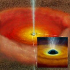 Künstlerische Darstellung einer Akkretionsscheibe aus heißer Materie um ein rotierendes supermassives Schwarzes Loch, das zwei Materiejets abstößt. (Credit: NAOJ)