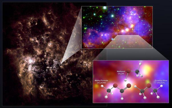 Ein Infrarotbild der Großen Magellanschen Wolke. Das kleine Bild zeigt die untersuchte Sternentstehungsregion mit den Protosternen, in deren Umgebung ALMA die organischen Moleküle registriert hat. (Credits: NRAO / AUI / NSF; ALMA (ESO / NAOJ / NRAO); Herschel / ESA; NASA / JPL-Caltech; NOAO)