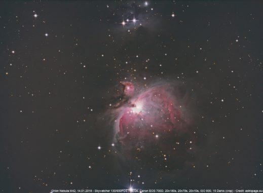 Orionnebel, 14.01.2018 (Credit: astropage.eu)