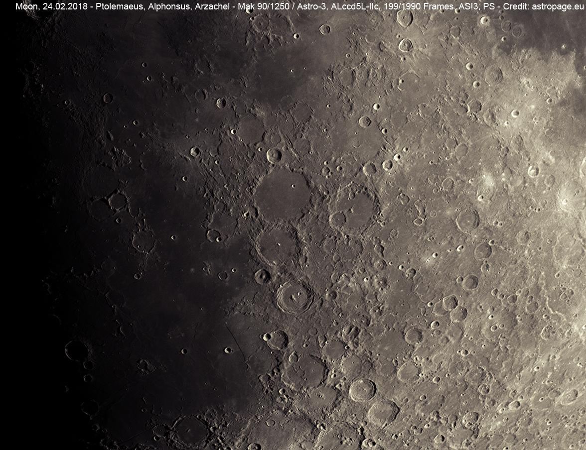 Die Kraterkette mit Ptolemaeus, Alphonsus und Arzachel. (Credit: astropage.eu)