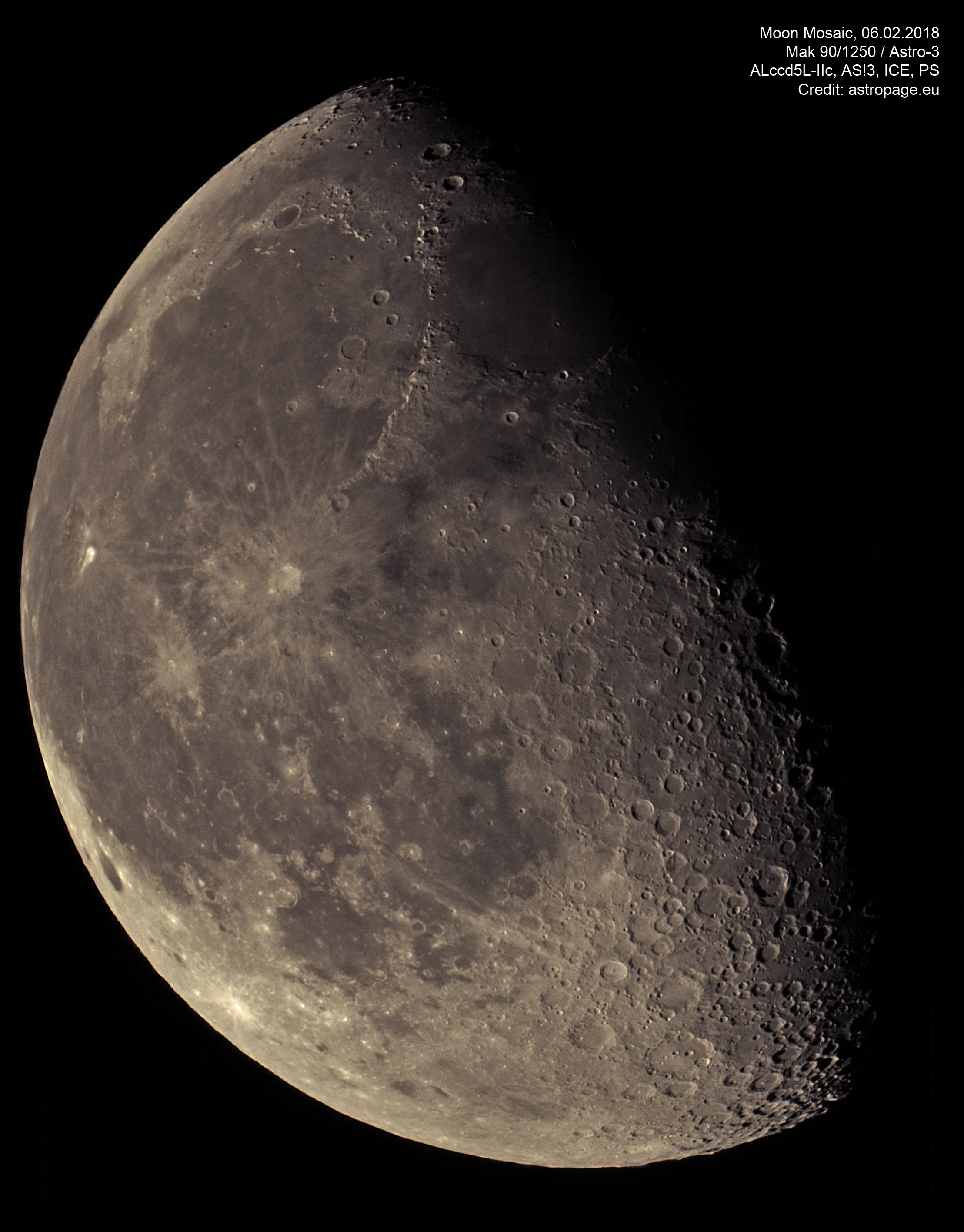 Mond Mosaik vom 6. Februar 2018, ungünstiges Seeing. (Credit: astropage.eu)