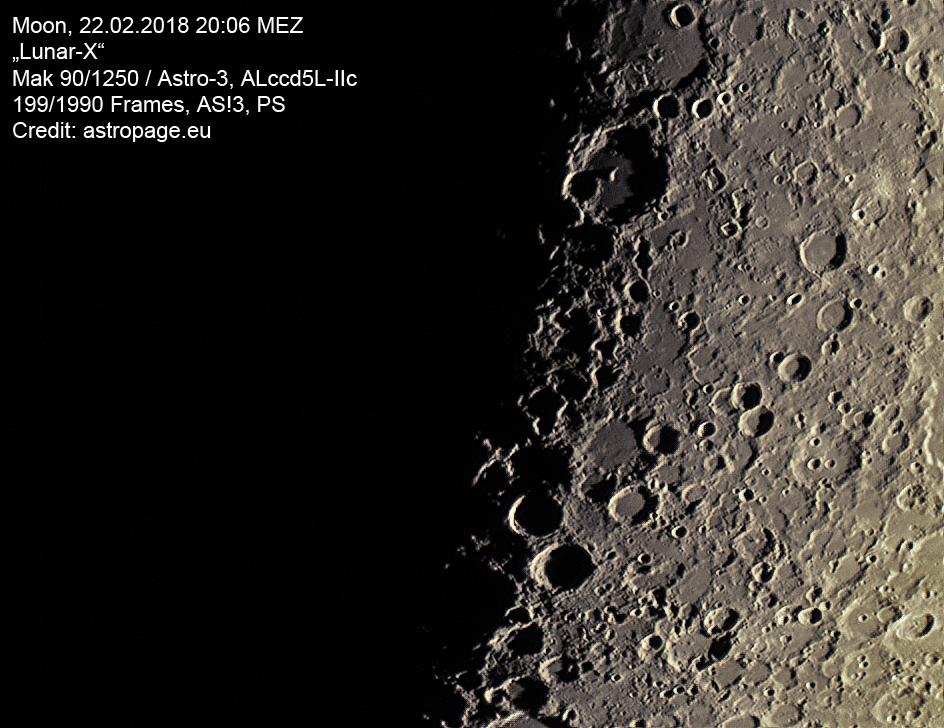 "Das ""Mond-X"" am 22. Februar 2018. (Credit: astropage.eu)"