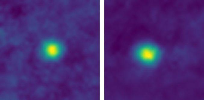 Mit diesen Falschfarbenbildern der Kuipergürtelobjekte 2012 HZ84 (links) and 2012 HE85 (rechts) stellte die Raumsonde New Horizons einen neuen Entfernungsrekord auf. (Credits: NASA / JHUAPL / SwRI)