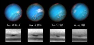 Bilderserie des dunklen Flecks SDS-2015 auf Neptun. (Credit: NASA, ESA, and M.H. Wong and A.I. Hsu (UC Berkeley))