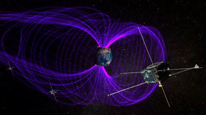 Illustration der THEMIS-Satelliten bei der Beobachtung der Erdmagnetosphäre. (Credits: NASA)