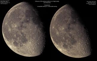 Unterschiede der Bildqualität bei akzeptablem und ungünstigem Seeing. (Credit: astropage.eu)