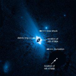 Hubble-Aufnahme einer ausgedehnten Staubstruktur um den Stern HR 4796A. (Credits: NASA, ESA, and G. Schneider (University of Arizona))