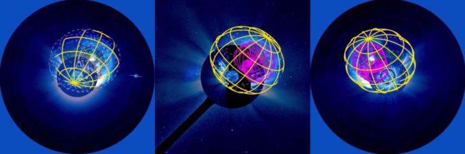 3D-Modell eines koronalen Massenauswurfs und der resultierenden Schockwelle, basierend auf Daten der Satelliten SOHO, STEREO-A und STEREO-B. (Credits: NASA's Goddard Space Flight Center / GMU / APL / Joy Ng)