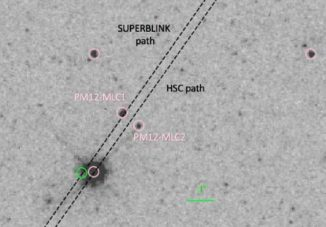 Negativ einer Hubble-Aufnahme des Weißen Zwergs PM I12506+4110E (das helle Objekt) und seiner Umgebung, zu dem die beiden fernen Sterne PM12-MLC1 & 2 gehören. Die gepunkteten Linien zeigen zwei mögliche Bahnen, denen der Weiße Zwerg folgen wird. Eine liegt so nah an einem Stern, dass ein Gravitationslinseneffekt auftreten könnte. (Credit: Harding et al. / NASA / HST)