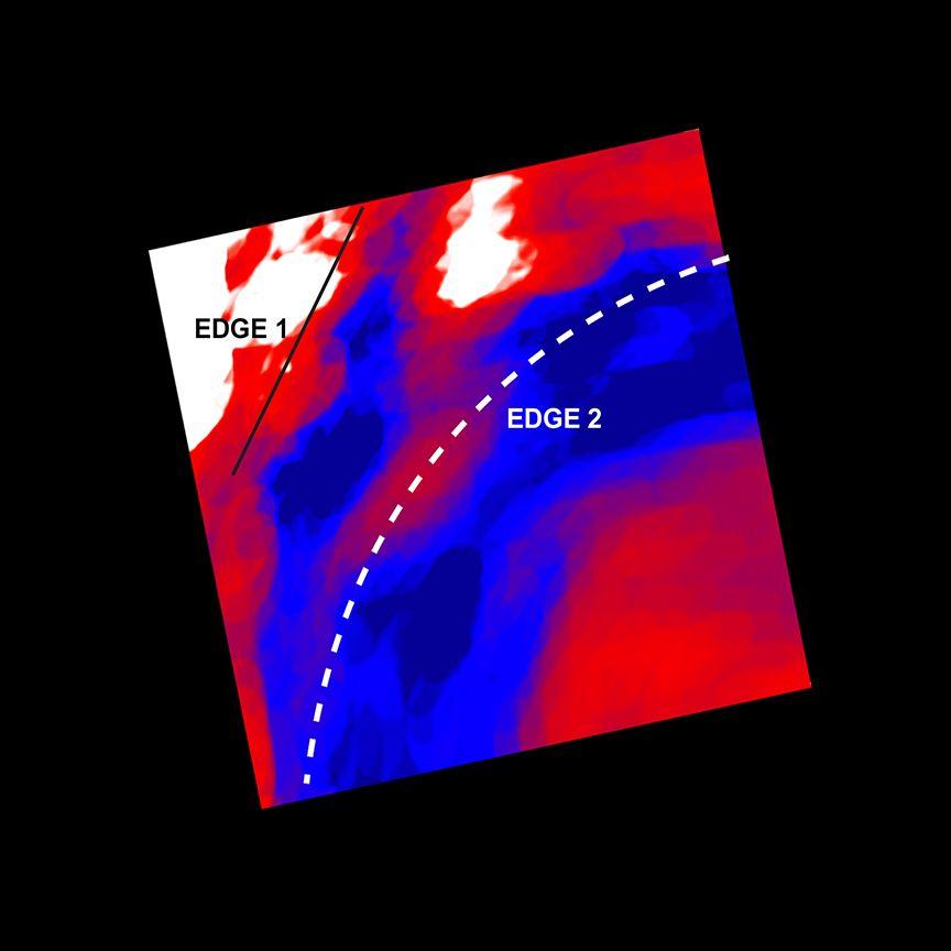 Nahansicht der Kaltfront im Perseus-Galaxienhaufen mit Temperaturdaten. (Credits: NASA / CXC / GSFC / S.Walker, ESA / XMM, ESA / ROSAT)