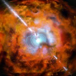 Künstlerische Darstellung einer superleuchtkräftigen Supernova und eines damit einhergehenden Gammablitzes. (Credits: ESO)