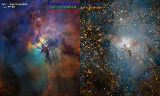 Hubble-Aufnahmen des Lagunennebels in sichtbaren Wellenlängen (links) und in infraroten Wellenlängen (rechts). (Credits: NASA, ESA, and STScI)