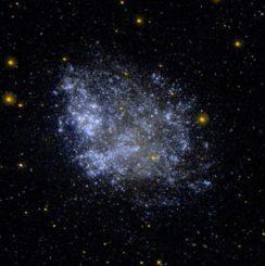 Aufnahme der Zwerggalaxie IC 1613 vom Weltraumteleskop GALEX in ultravioletten Wellenlängen. (Credits: NASA / JPL-Caltech / SSC)