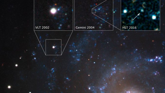 Hubbles fotografischer Nachweis des überlebenden Begleiters der Stripped-Envelope Supernova SN 2001ig. (Credits: NASA, ESA, S. Ryder (Australian Astronomical Observatory), and O. Fox (STScI))
