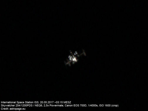 ISS am 20. Mai 2018. (Credit: astropage.eu)