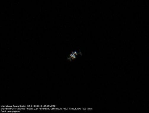ISS am 21. Mai 2018. (Credit: astropage.eu)